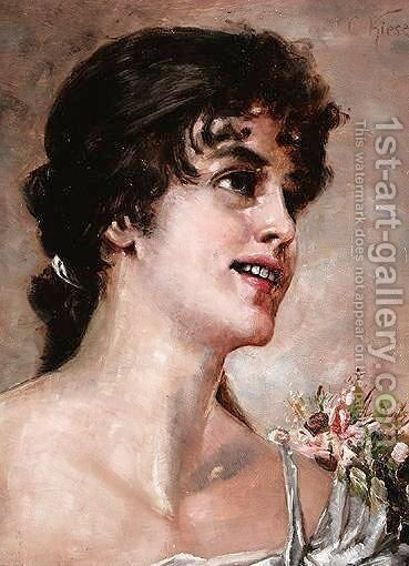 Portrait Of A Girl by Conrad Kiesel - Reproduction Oil Painting