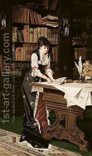 In The Library by (after) Juana Romani - Reproduction Oil Painting
