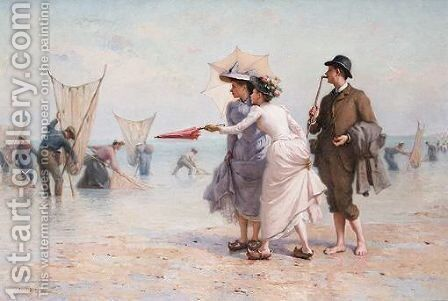 Parisiens A La Peche Aux Crevettes by Jacques-Eugene Feyen - Reproduction Oil Painting