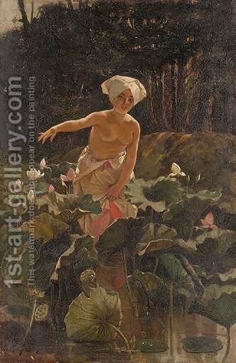 Through The Water Lilies by A. Sangiovanni - Reproduction Oil Painting
