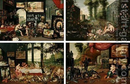 Allegories Of Sight, Touch, Taste And Smell by Jan, the Younger Brueghel - Reproduction Oil Painting
