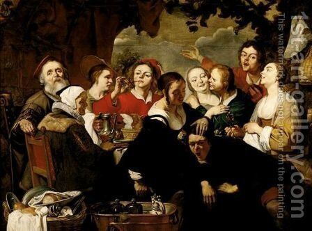 A Merry Company Feasting by (after) Adriaen Van Utrecht - Reproduction Oil Painting