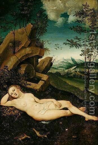 A Water Nymph Reclining In A Landscape by (after) Lucas The Elder Cranach - Reproduction Oil Painting