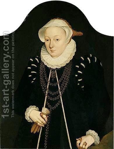 Portrait Of A Lady, Half-Length, Wearing Black, With A Gold Chain And A White Embroidered Head-Dress by (after) Barthel Bruyn - Reproduction Oil Painting