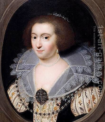 Portrait Of A Noblewoman, Said To Be Amalia Van Solms by (after) Anthony Van Ravesteyn - Reproduction Oil Painting