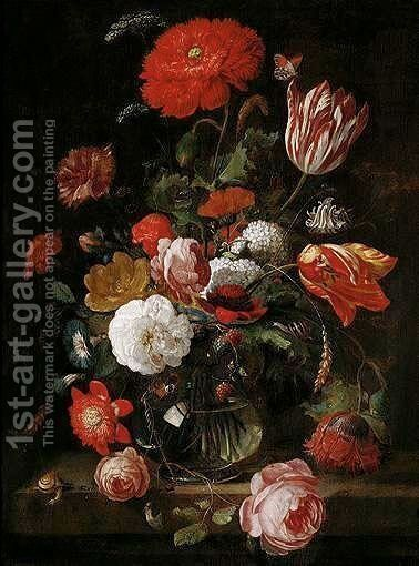 A Still Life Of Tulips, Roses, Blackberries, And Other Flowers In A Glass Vase, On A Stone Ledge by Hendrick Schoock - Reproduction Oil Painting