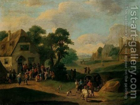 A Village Scene With Peasants Dancing Before An Inn, Waggoners On A Path In The Foreground by (after) Mathys Schoevaerdts - Reproduction Oil Painting