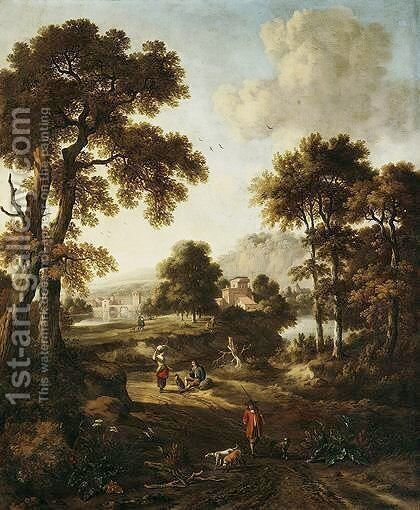 A Classical Landscape With Travellers On A Path In The Foreground by Jan Wijnants - Reproduction Oil Painting