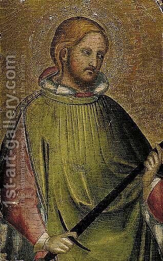 A Young Male Saint, Half Length, Holding A Sword, Probably Saint Julian The Hospitator by (after) Agnolo Gaddi - Reproduction Oil Painting