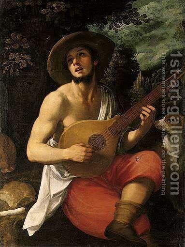 Portrait Of A Young Man, Three Quarter Length Seated, Playing A Cittern, A Landscape Beyond by Domenico Cresti  (see Passignano) - Reproduction Oil Painting