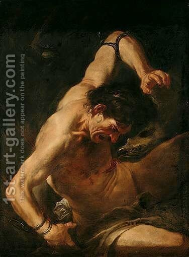 Prometheus Bound by (after) Johann Karl Loth - Reproduction Oil Painting