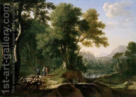 A Southern Landscape With Travellers, A Drover And Sheep On A Track Above A Lake, A Hill-Top Town In The Distance by Herman Van Swanevelt - Reproduction Oil Painting