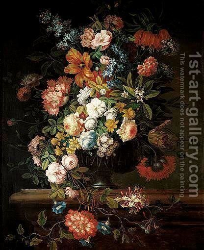 A Still Life Of Flowers Including Roses, Lilac, A Crown Imperial, Tulips, Morning-Glory, Honeysuckle, Stocks And Peonies In A Glass Vase, All On A Stone Ledge by (after) Jean-Baptiste Monnoyer - Reproduction Oil Painting