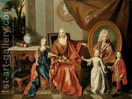 Portrait Of The Bocquet D'Anthenay Family by (after) Largilliere, Nicholas de - Reproduction Oil Painting
