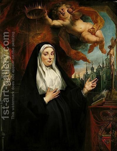 Portrait Of The Infanta Isabella Clara Eugenia, As A Nun, Half-Length In Prayer Before A Crucifix And Crowned By A Cherub, With An Abbey Beyond by Jacob Jordaens - Reproduction Oil Painting