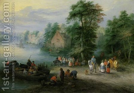 A Wooded River Landscape With Peasants And Cattle By A Ferry, A Village Beyond by Theobald Michau - Reproduction Oil Painting
