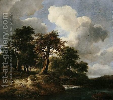 A Landscape With A Torrent At The Margins Of A Wood And Figures On A Road by Jacob Van Ruisdael - Reproduction Oil Painting