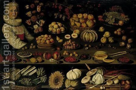 Still Life Of A Young Woman Sitting With A Vase Of Flowers Next To A Table Laden With Fruit, Vegetables And Nuts by Albrecht Kauw - Reproduction Oil Painting