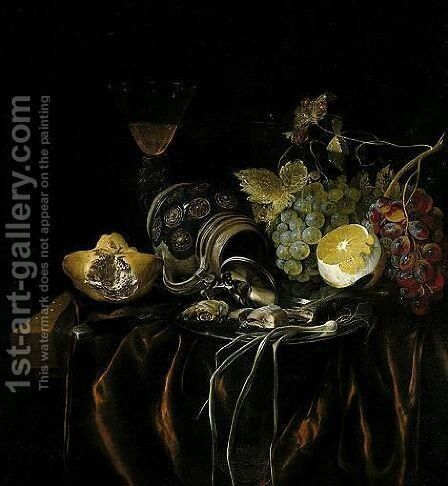 A Still Life Of A Siegburger Kanne, Herring, And A Spring Onion On A Silver Plate, Grapes, A Peeled Lemon, A Bread Roll And A Glass With Wine, All Upon A Table Draped With A Red Cloth by Cornelis van Lelienbergh - Reproduction Oil Painting