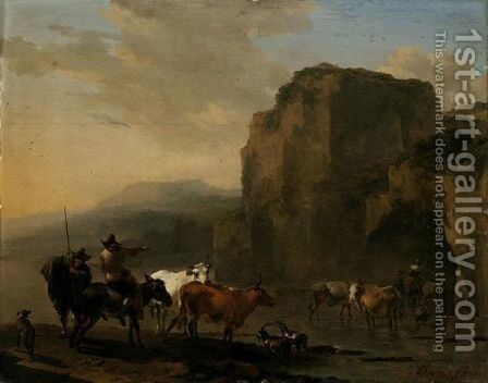 An Italianate Landscape With Herders, Cattle And Goats Fording A River by Nicolaes Berchem - Reproduction Oil Painting