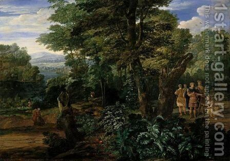 A Wooded River Landscape With Semiramis Receiving The Crown Of The King Of Assyria by Eglon van der Neer - Reproduction Oil Painting