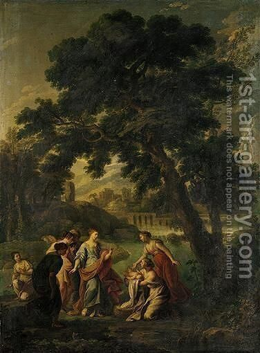 A Classical Landscape With The Finding Of Moses by Andrea Locatelli - Reproduction Oil Painting