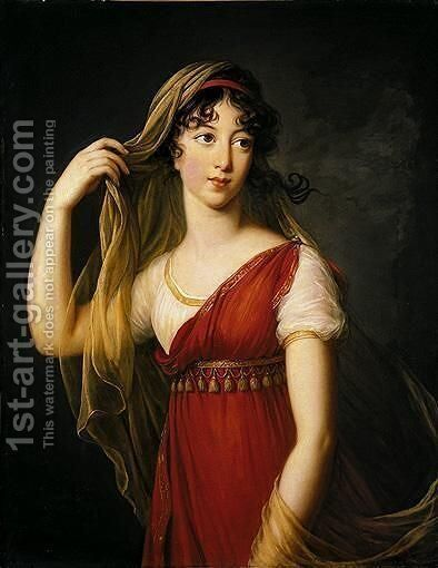 Portrait Of A Young Lady, Possibly The Hon. Charlotte Dillon, Three-Quarter Length Standing, Dressed In Imperial Style With A Red Stole And A Veil by Elisabeth Vigee-Lebrun - Reproduction Oil Painting
