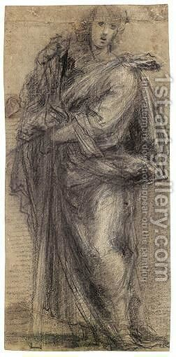 Study Of A Male Saint Holding A Cross by Giovanni Antonio Sogliani - Reproduction Oil Painting