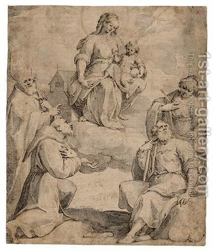 The Virgin And Child In Glory With St. Francis, St. Agnes, A Pilgrim Saint And A Bishop Saint by Giovanni Battista (Il Malosso) Trotti - Reproduction Oil Painting