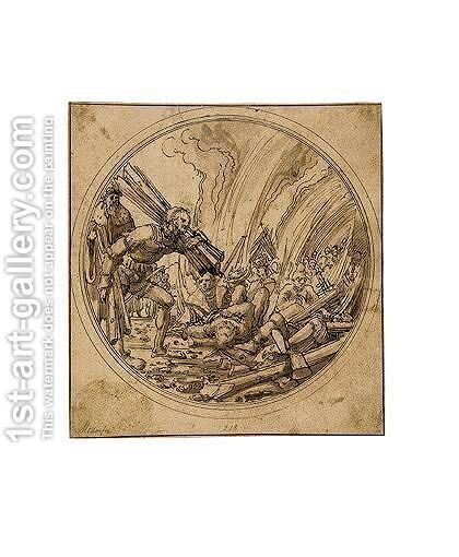 Design For A Glass Roundel The Emperor Maxentius Ordering The Burning Of The Fifty Wise Men For Failing To Convince St. Catherine Of The Error Of Her Ways by Albrecht Altdorfer - Reproduction Oil Painting