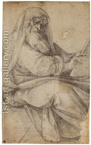 A Seated Prophet by (after) Giuseppe (d'Arpino) Cesari (Cavaliere) - Reproduction Oil Painting