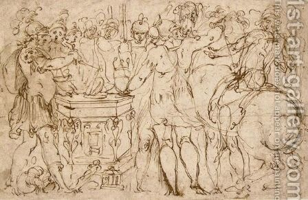 Classical Warriors Gathered Around An Altar by (after) Perino Del Vaga (Pietro Bonaccors) - Reproduction Oil Painting