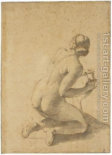 Study Of A Kneeling Female Nude by Giovanni Battista (Baciccio) Gaulli - Reproduction Oil Painting