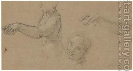 A Sheet Of Studies Of A Female Nude Her Torso, Face And Outstretched Arm by Carlo Maratta or Maratti - Reproduction Oil Painting