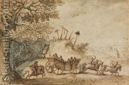 Landscape With A Coach And Four Driving From Woods Past A Gibbet, Towards A Town by Matthäus the Elder Merian - Reproduction Oil Painting