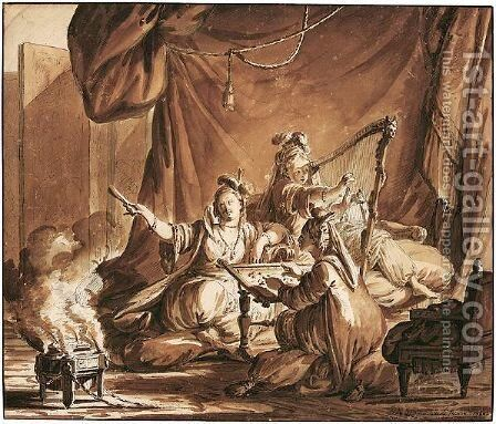 Three Oriental Ladies In An Interior, One Playing A Harp, Another Embroidering by Jean-Michel Moreau - Reproduction Oil Painting
