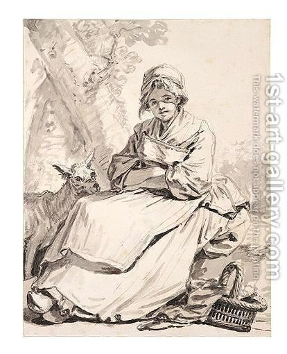 Peasant Girl With A Goat by Jean Baptiste Greuze - Reproduction Oil Painting