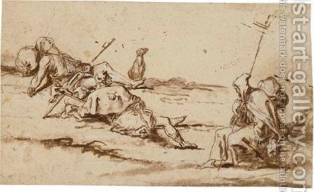 Three Pilgrims And A Dog Resting In A Landscape by Alessandro Magnasco - Reproduction Oil Painting