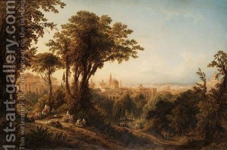 A View Of Rome, With Peasants Resting By Trees In The Foreground by Friedrich Horner - Reproduction Oil Painting