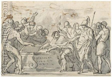 Sketch Of A Triumphal Procession, And A Study For The Figure Of Alexander by Jacques Louis David - Reproduction Oil Painting