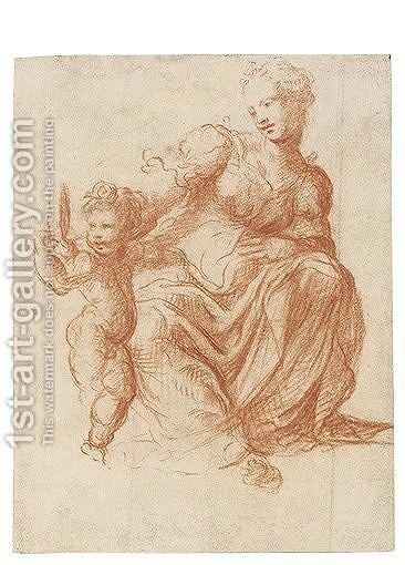 Mother And Child by Michelangelo Anselmi - Reproduction Oil Painting