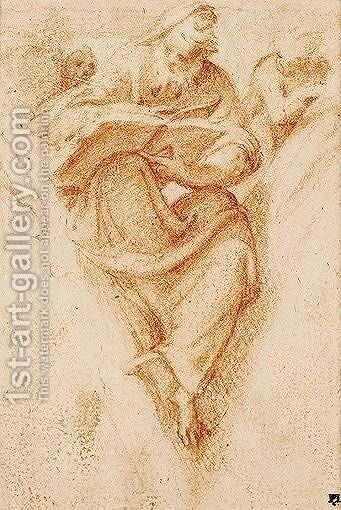 Study Of A Prophet With Putti In A Pendentive by Camillo Boccaccino - Reproduction Oil Painting