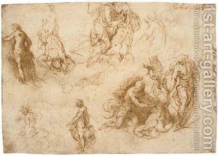 Studies For The Flaying Of Marsyas by Jacopo d'Antonio Negretti (see Palma Giovane) - Reproduction Oil Painting