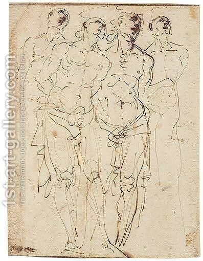 Four Studies Of Christ At The Column by Daniele Crespi - Reproduction Oil Painting