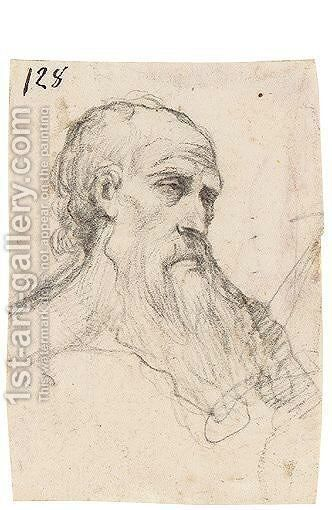 Head Of A Bearded Man by Giuseppe (d'Arpino) Cesari (Cavaliere) - Reproduction Oil Painting
