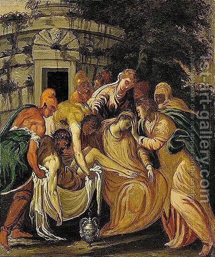 The Entombment Of Christ by (after) Andrea Meldolla, Il Schiavone - Reproduction Oil Painting