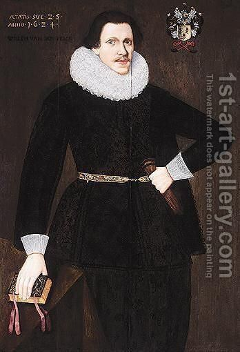 Portrait Of A Gentleman, Said To Be Willem Van Dem Berch, Three-Quarter Length, Wearing Black, Holding A Book And A Pair Of Gloves by Dutch School - Reproduction Oil Painting