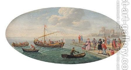 A Coastal Scene With Figures On A Quay And Small Vessels by (after) Charles Leopold Grevenbroeck - Reproduction Oil Painting