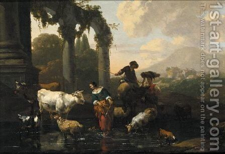 An Italianate Landscape With Maids And A Herder Tending Their Sheep And Cattle At A Watering-Hole by Abraham Jansz Begeyn - Reproduction Oil Painting