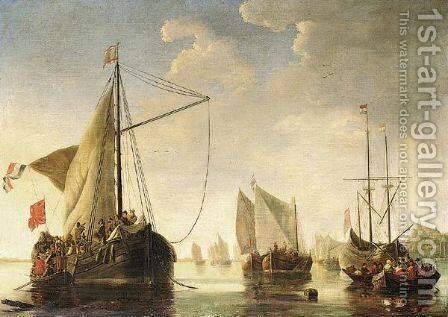 Shipping On The River Maas At Dordrecht by (after) Aelbert Cuyp - Reproduction Oil Painting